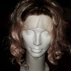 Eva Hair curly pink/brown lace front synthetic wig